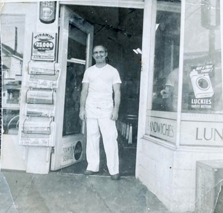 Bruno Cappa in front of Bruno's Creamery, about 1960. Photo courtesy Marilyn Cappa Kennedy.