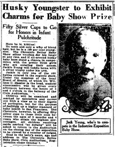 Jack Young as a baby, featured in an SF Chronicle story about a baby show. 1 Oct 1922.