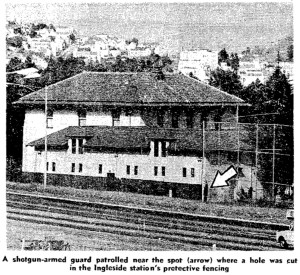 View of Ingleside station from the freeway side, showing the location of the opening cut in the fence whereby the attackers escaped to waiting getaway cars. SF Chronicle, 31 Aug 1971.