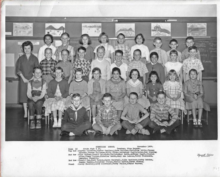 1959. Fourth grade class, Sunnyside School, San Francisco. Photo courtesy Jeanne Molinare Malarky.
