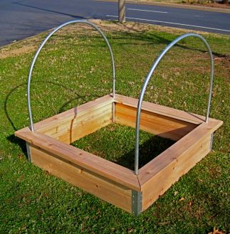 Deluxe Cedar bed with Trim and 4' Hoops.