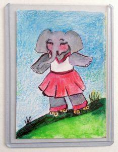 Elephant Rollerskating Art Print