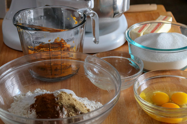 Ingredients for Pumpkin Steamed Pudding