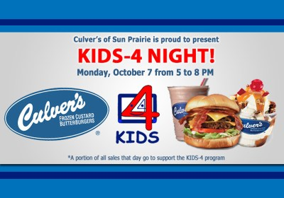 CULVER'S KIDS-4 SHARE NIGHT SET FOR OCTOBER 7