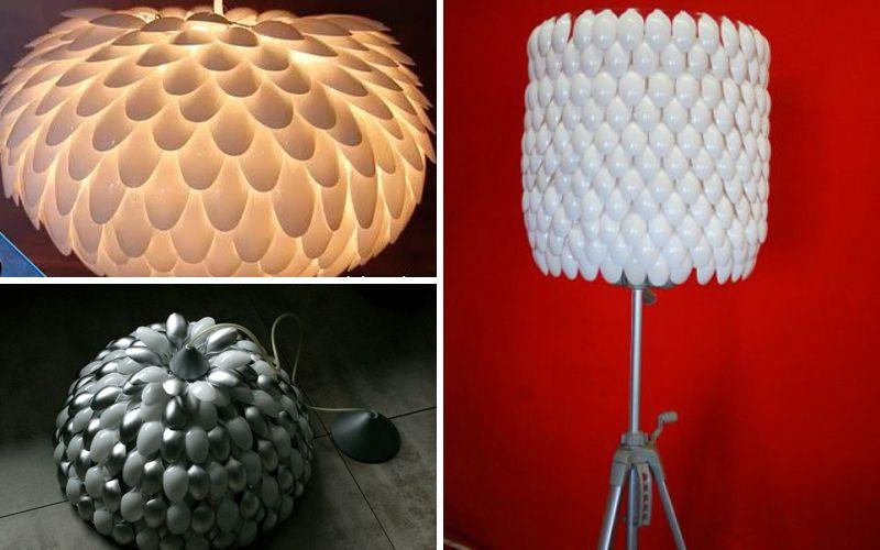 플라스틱 숟가락이나 포크의 램프