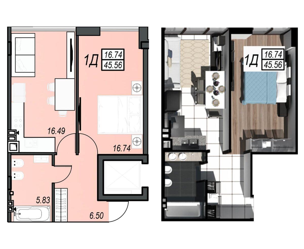 Планировка квартиры: 64