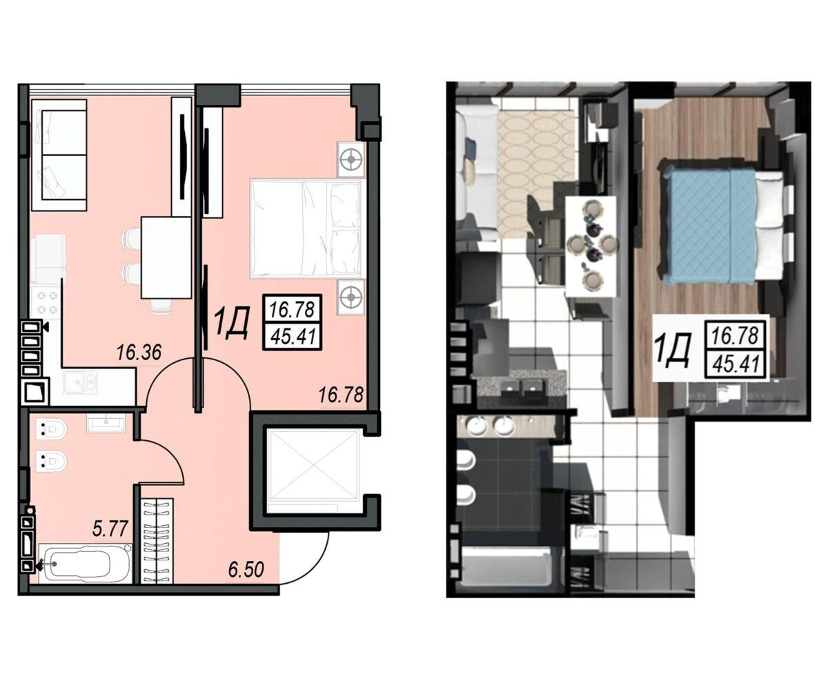 Планировка квартиры: 74