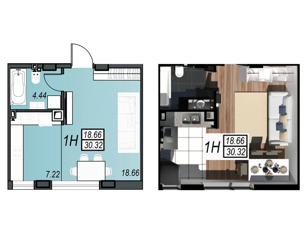 Планировка квартиры: 43