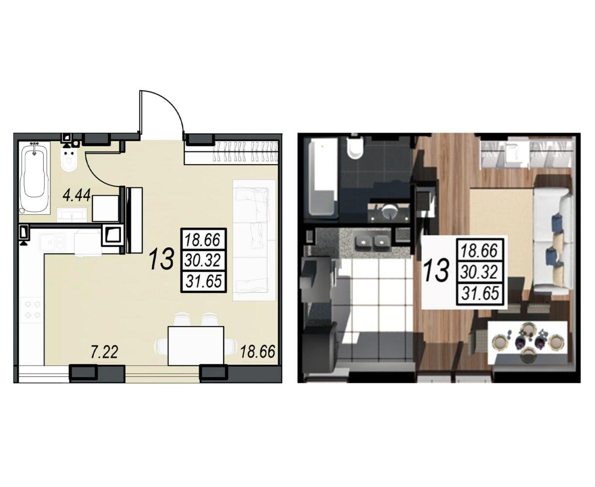 Планировка квартиры: 120