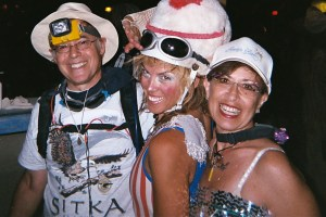 Dressed for Playa Success: Alan, our friend Helen and Judie ready for a night of fun.