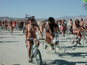 "You'll find mass bike rides everywhere, but only Burning Man offers ""Critical Tits"" annually.  It's fun and sexy."