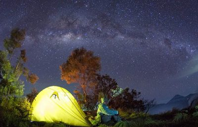 mount bromo milky way by camping