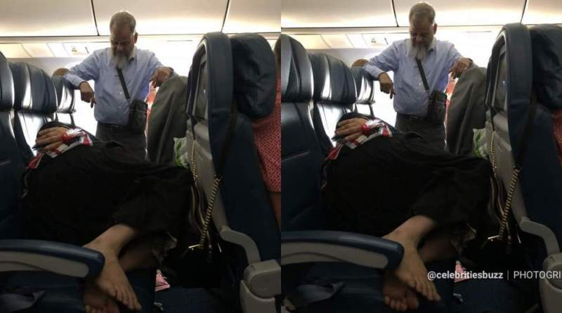 See how Man stands for 6 hours on flight so his wife can sleep