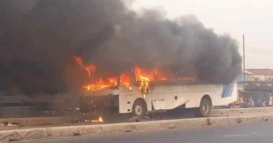 BREAKING: Commercial bus catches fire in Iyana-Ipaja, Lagos