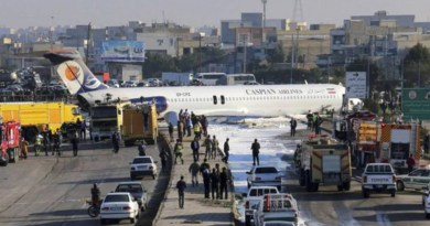 Iranian Passenger Plane flies into the street while Landing