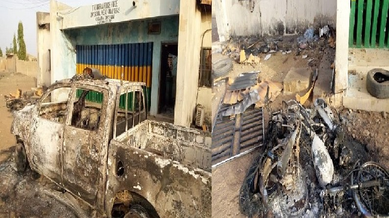 Angry Muslims burnt down police station, after they were prevented from holding service (Photos)