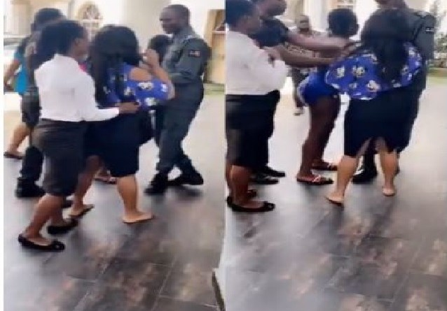Viral video of woman who fights her husband's side chic in Benin hotel