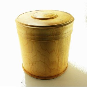 large lidded box hand turned in spalted maple
