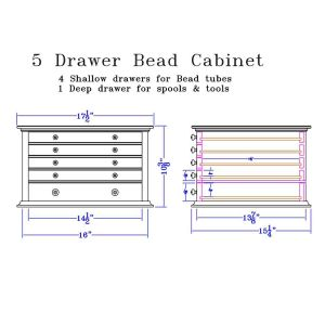 Dimensions for 5 Drawer Bead Cabinet