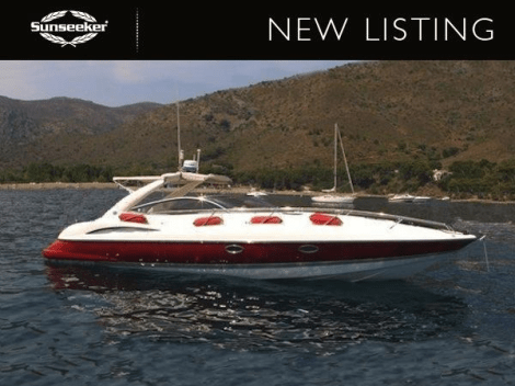 """Sunseeker Poole have listed the red-hulled Sunseeker Superhawk 34 """"TOY BOX"""" for sale"""