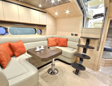 The San Remo 485 interior benefits from luxurious materials and Sunseeker design features