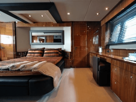 """The full-beam Master Stateroom onboard the 88 Yacht """"X CRISTAL X"""" is a particular highlight, with separate vanity area, walk in wardrobe and luxurious ensuite bathroom"""