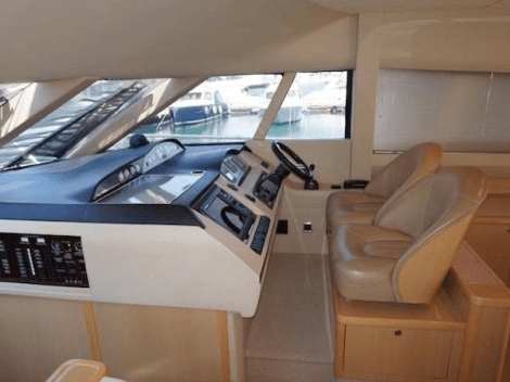 "Multiple windows ensure an excellent view from the helm of the Princess 58 Flybridge ""ECLIPSE"""