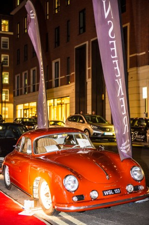 This Porsche 356 Carrera was displayed alongside a selection of 2014 models including the Macan, Cayman, Boxter, 991 Turbo, Cayenne