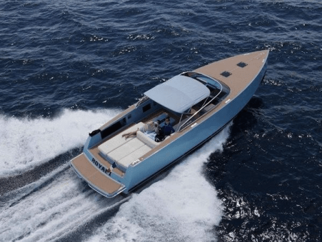 """With a sky blue hull, """"ROYAL 2"""" is a particularly striking example of the VanDutch 40"""