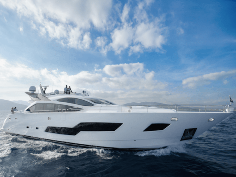 """The 101 Sport Yacht """"SANDY"""" cuts a striking profile in the water"""