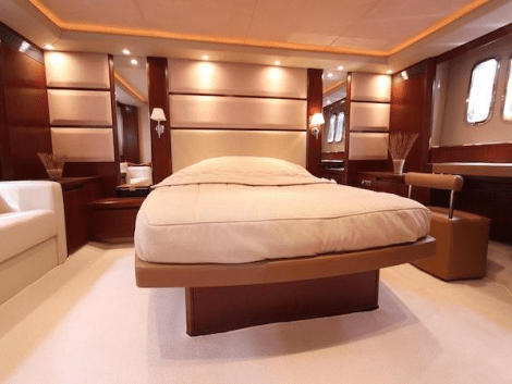 "The Princess V70 ""COCO"" offers 3 Cabins, each ensuite and a Crew Cabin for 2"