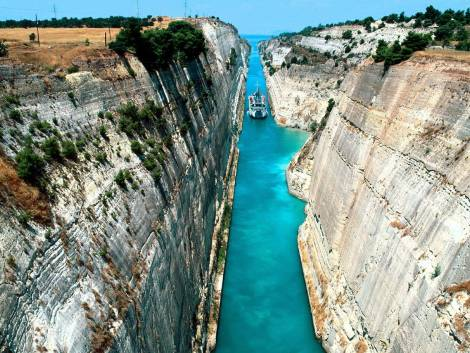 """The team travelled through the Corinth Canal with """"DEL BOY's"""" new owner onboard - a memorable experience for all"""