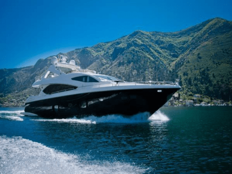 "Featuring a black hull and white superstructure, the 88 Yacht ""OOMKA"" cuts a striking image through the water"