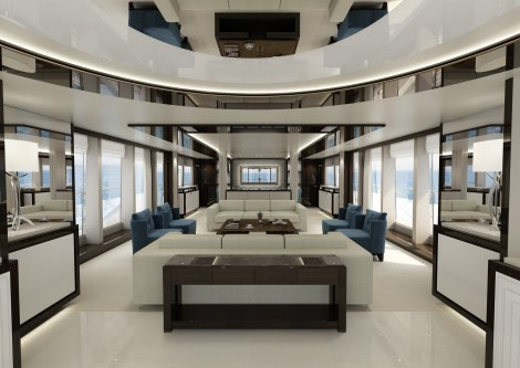 Bespoke interior design concept design for the NEW 131 Yacht, launching early 2016.