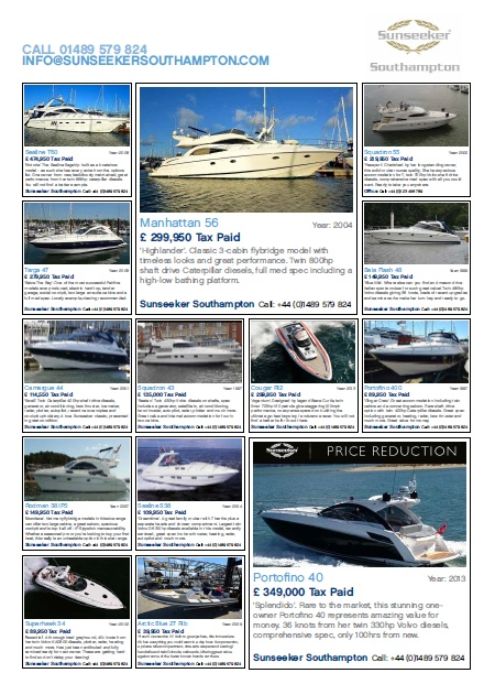16 boats on display at the Swanwick Used Boat Show
