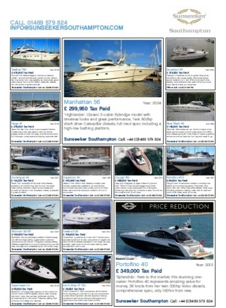 16 motor yachts on display from Sunseeker Southampton