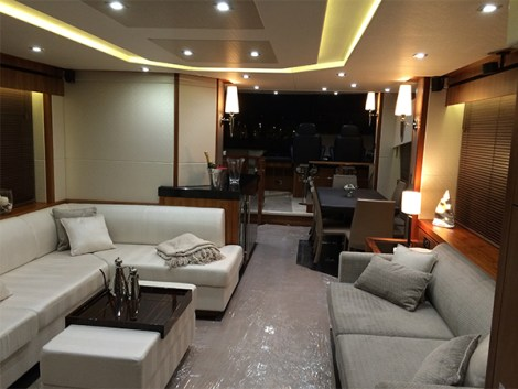 The interior of the vessel is finished in the popular satin Black America Walnut, with complimentary soft furnishings throughout