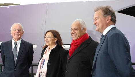 Robert Braithwaite CBE DL and Hugh Bonneville join the new owners of the Sunseeker 131 Yacht at her official launch