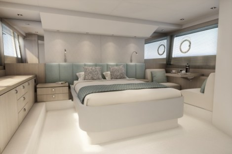 The master cabin is a real standout feature for a boat of this size, with full height headroom all the way around the bed.