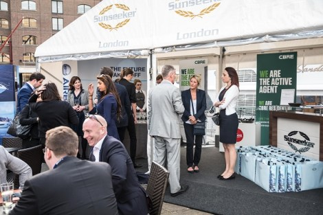 The Sunseeker London hospitality area during the London On Water show