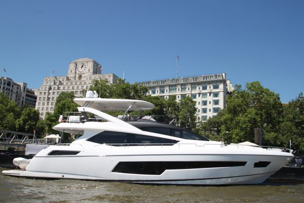 The Sunseeker 75 Yacht 'HARD 8' on the River Thames in partnership with the Woods Silver Fleet