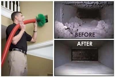 AC Technician Cleaning Ducts with Machine - AC Duct Cleaning - Fort Myers FL - Sunset Air and Home Services - 239-693-9005 - 400 x 268