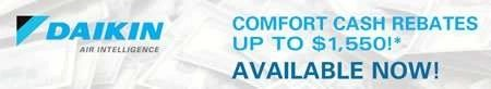 Daikin Comfort $1550 Cash Rebate - Sunset Air and Home Services - Fort Myers FL - 239-693-9005 - 450 x 82