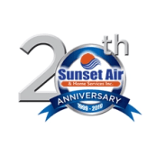 20th Anniversary logo - Sunset Air and Home Services - Fort Myers, FL
