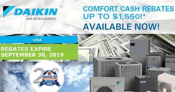 Daikin Comfort Cash Rebate July 2019