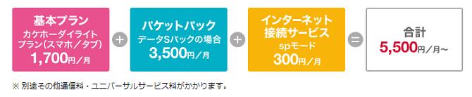 ドコモカケホーダイライトプラン+データS+SPモード価格表