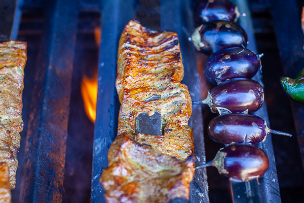 steak on kebab over fire