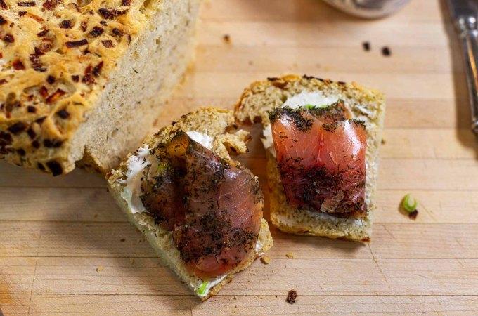 slice of Swedish dill bread with salmon lox
