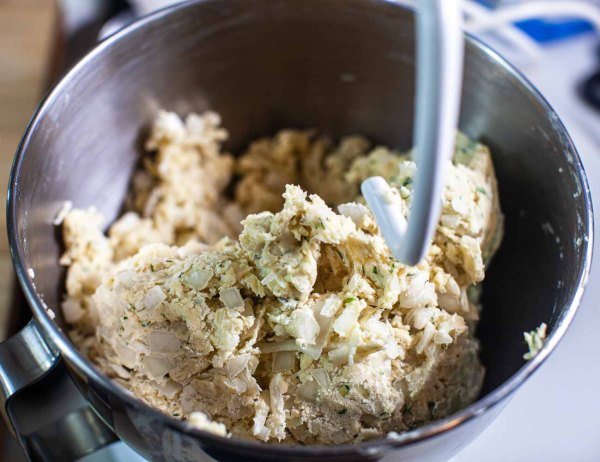 mixing bowl with Swedish dill bread dough