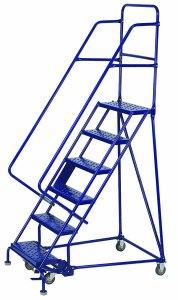 photo showing single entry rolling wareshouse safety ladder